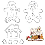 Biniwa – 1 Set 3D Weihnachts-Lebkuchenhaus Puppe Plätzchen Schablonen Schokolade Form Pfannkuchen Keks Ausstechformen Werkzeuge für Party Supplies Dekoration Handgemachte Backmodi 01