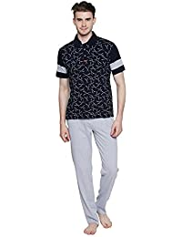 Valentine Night Suit For Men - Jet Black And Grey Printed Night Wear - Stylish Tshirt And Pyjama Set For Men -...