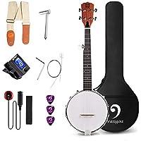 Vangoa Mini Banjo 5 Cuerdas Espalda Sólida Cerrada 26 Pulgadas Banjo Tenor con Kits per Principianti