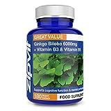 Ginkgo Biloba 6000mg + Vitamin B3 & B5 (180 Tablets)