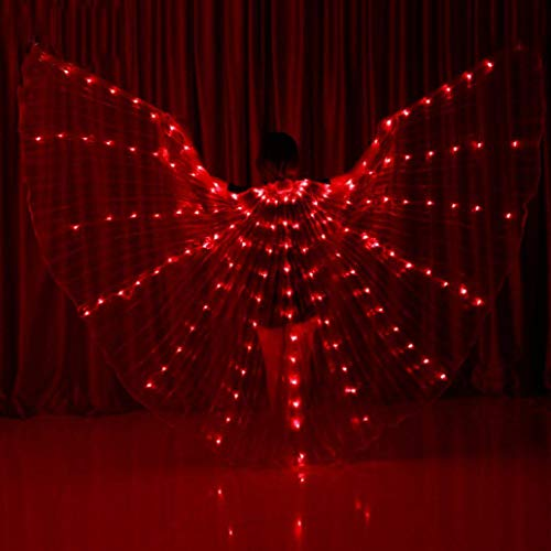 Z-SGFZ Dance Fairy Eröffnung Belly Dance LED-Sticks Angel Wings 360 LED Luminous Light Up Stage Performance Requisiten bestanden CE, Zertifizierung-Multicolor,red