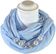 Sciarpa Gioiello Tinta Unita Azzurro Con Perle In Resina E Cristalli Montati In Chiusura. Prodotto Artigianale