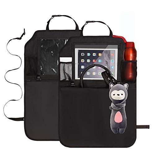 """Wasserdicht Fußmatten Rückenlehnenschutz & Utensilientaschen mit 10\"""" iPad Halter & 2 Haken & 3 groß Auto Storage Veranstalter - Schwarz, 2 PACK"""