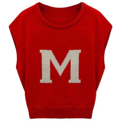 Mesdames pour homme col ras du cou à manches courtes chauve-souris initiales en tricot pull pour femme Rouge - Rouge