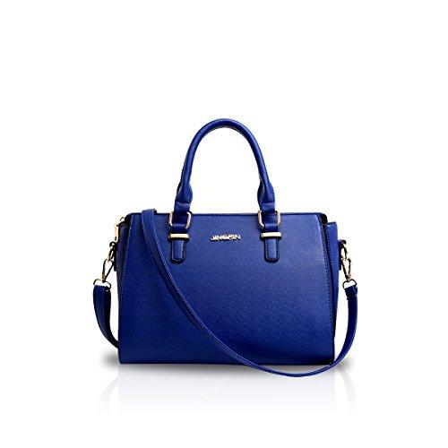 NICOLE&DORIS Frauen Crossbody Tote Handtasche Trapeze Umhängetasche PU Blau (Medium Tote Handtasche Bag)