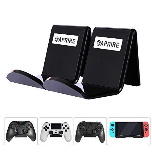 Controller Ständer Wandhalterung für Xbox One PS4 Switch Pro - Packung mit 2 OAPRIRE Acryl Video Game Controller Zubehör mit Kabelclips, Schwarz - Mit Zwei Wii Controllern