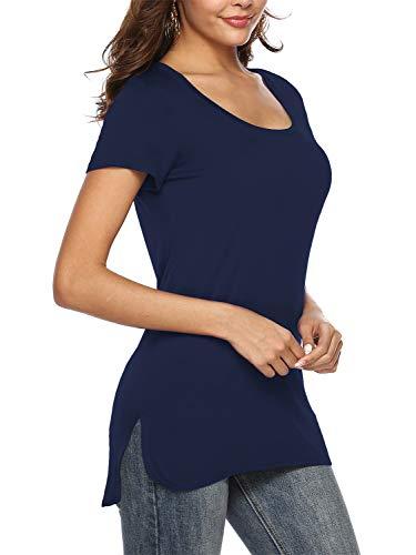 Beluring Damen Rund-Ausschnitt T-Shirts Oberteile Frauen Kurz Ärmel Tops Bluse, Marineblau M