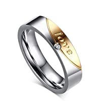 Unisex silver and gold ring and zircon ring