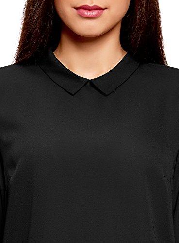 oodji Collection Damen Bluse mit Kragen und Spitzeneinsatz Schwarz (2900N)