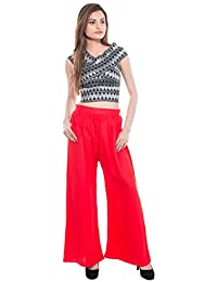 CAY® Red Color Solid Stylish Plazzo With Elastic Waist And Two Pockets Western Wear ( SIZE : FREE SIZE )