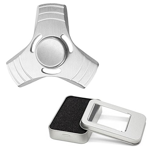 New Plastic Fidget Hand Toy Finger Spinner Steel Bearings EDC Pocket Desk Focus FREE Case (Silver Aluminium)