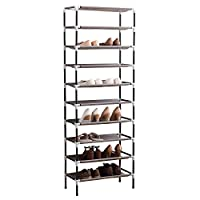 AcornFort® S-115 10 Tiers Adjustable Shoe Storage Shoe Rack Organiser Shelf Hold Stand for 30 Pairs Shoes, Using Thickened Electrophoresis Tubes, Sturdy & Space Saving, Easy Assemble