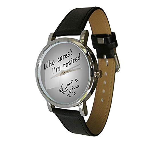 Your Watch Design Unisex Uhr Erwachsenengröße Analog Quarz mit Leder Armband Grey Retired