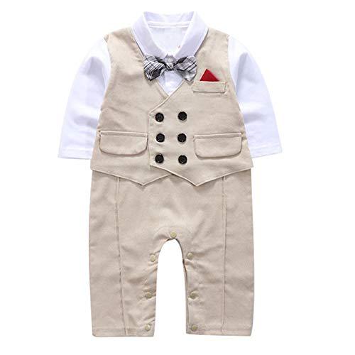 Liebe Kids 2018 Infant Boy Langarm Strampler Gentleman Outfits mit Fliege (80, 16065-Khaki)