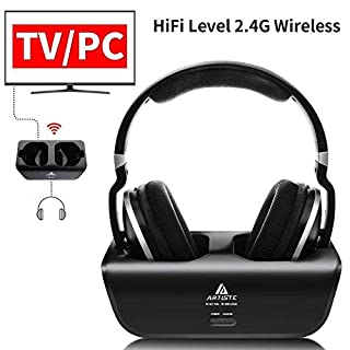 Artiste ADH300 Wireless TV Headphones,2.4GHz UHF/RF Digital Over-Ear Stereo Headphone for TV,100ft Distance Transmitter Rechargeable Charging Dock (UK Standard )