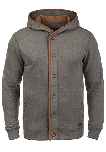 BLEND Alesso Herren Sweatjacke Kapuzen-Jacke Zip-Hoodie aus hochwertiger Baumwollmischung, Größe:M, Farbe:Pewter Mix (70817)