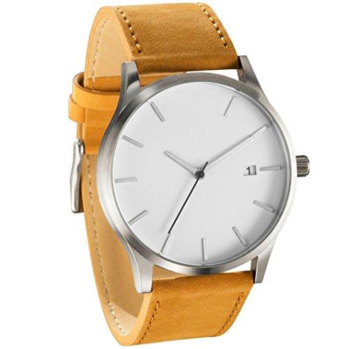Sonnena Unisex Armbanduhren, Mode Casual Minimalistisch Damenuhr Herrenuhr Casual Lederband Armbanduhren Klassik Edelstahl Analoge Quarz Handgelenk Uhr (D)