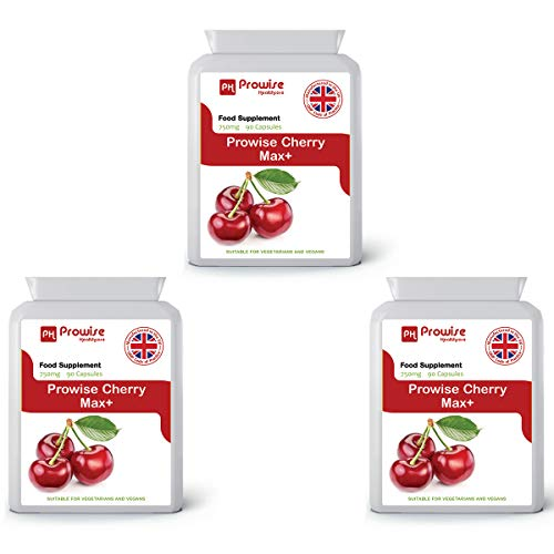 Prowise Cherry Max 750mg 90 Capsules - Pack of 3 - Made in UK - Max 90 Kapseln
