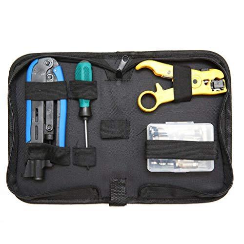 Lin-Tong Crimpwerkzeug Kit für Koaxialkabel, mit Schraubendreher Kombinations Abisolierzange, Tragbarer Crimpwerkzeugsatz