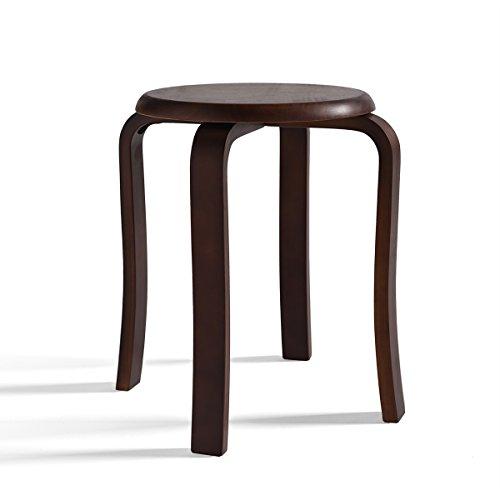 Repose-pieds Cuisine Chaise de salle à manger Tabouret en bois de chêne/Ménage empilable Tabouret de maquillage 4 pieds pour restaurant | Accessoires de meubles de salon en brun foncé