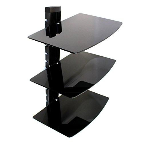 Maison & White Tempered Black Glass Floating Regal Wandhalterung Konsolen / DVD-Player 3 Tier
