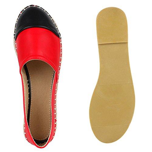 Japado Comode Donne Espadrillas Comode Pantofole Scintillanti Glitter Applique Trendy Estate Scarpe Taglia 36-41 Rosso Nero