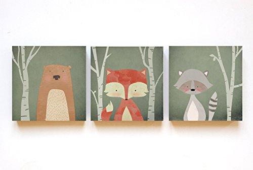"""Print-Trio """"Waldtiere"""" auf Holz in 12x12, Trio, Illustration, Bild, Kinderzimmer, Kind, Baby"""