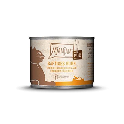 MjAMjAM - Premium Nassfutter für Katzen - purer Fleischgenuss - saftiges Hühnchen pur, 1er Pack (1 x 200 g), getreidefrei mit extra viel Fleisch