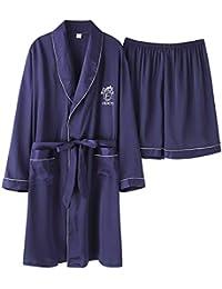 Pijamas Pantalones Cortos para Hombres Bata De Casa Primavera Otoño Batas De Baño De Manga Larga