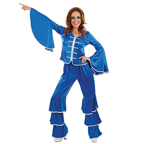 Women's Blue Saton Dancing Queen Costume with Silver Trim. Sizes S to XL.