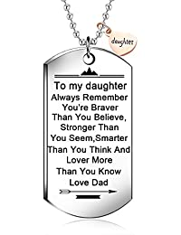 """To my daughter from dad Stainless Steel Dog Tag Letters""""To my daughter.love dad"""" Pendant Necklace,Inspirational Gifts For daughter Jewelry"""