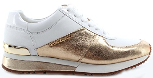 Women Shoes Sneakers MICHAEL KORS Allie Wrap Trainer Mettalic Leather Gold White