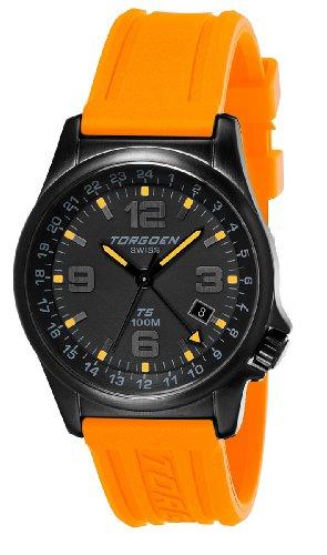 Torgoen - T05307 - Montre Homme - Quartz Analogique - Cadran Noir - Bracelet Plastique Orange