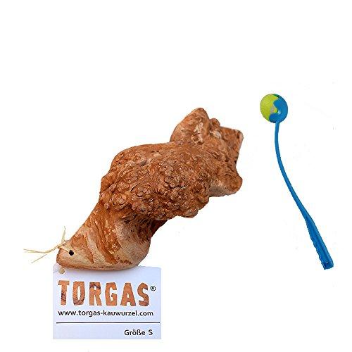 1 Torgas Kauwurzel Größe S Kauspaß Kauspielzeug Hund Wurzelholz + Ballschleuder
