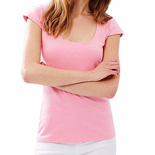 Doux Col Ras Du Cou A Manches Courtes Rose Tops Backless Mode Mince T-Shirt Blouse Rose