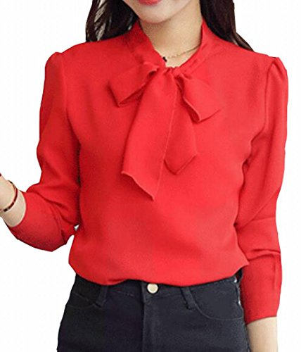 today-UK Damen T-Shirt Gr. Large, rot - Ruffled Front Bluse