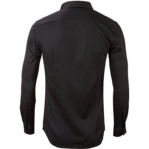 INFlATION Herren Hemd aus Bambusfaser umweltfreudlich Elastisch Slim Fit für Freizeit Business Hochzeit Reine Farbe Hemd Langarm,DE L (Etikette 42),Schwarz