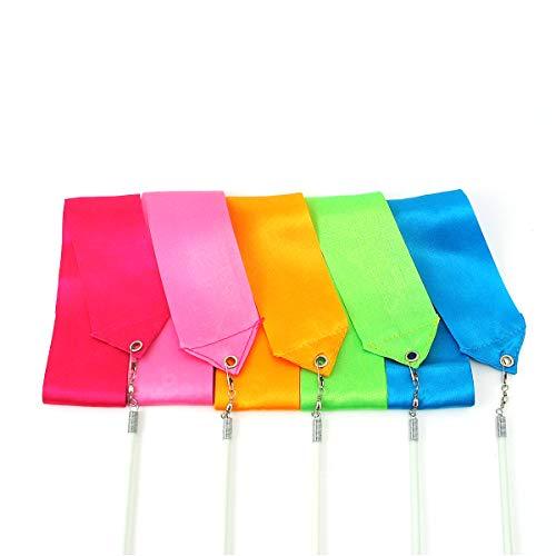Grouptap 2M Gemstone Rhythmic Gymnastics Dance Seiden-Streamer-Farbband (2 Meter) mit Wirbelstab-Stab für Mädchen (Rubin, Pink, Amber, Smaragd und Aquamarin) -