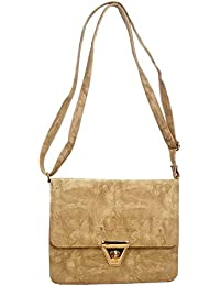 DCenterprises Women's Handbag/Shoulder Bag/Sling Bag Material- Synthetic Leather Color Dark Gold