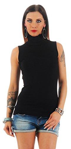 BALI Lingerie - Damen Ärmellos Shirt Rollkragen T-Shirt Top - S M L XL (M/L, Schwarz) (Ärmellose Schwarze T-shirt)