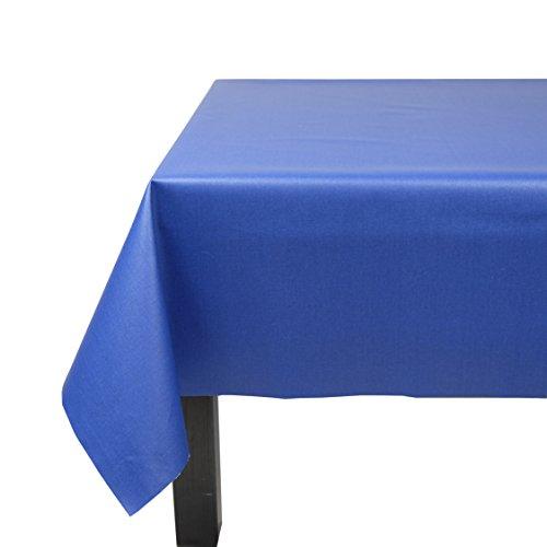 Fleur de soleil Nappe Rectangulaire anti-tache imperméable 160x240cm Uni Bleu Royal coton enduit - sans solvant - sans phtalate - 100% fabrication française