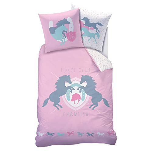 Matt&Rose Horde Parure de lit pour Fille en Flanelle - Parure de lit - Parure de lit pour Enfant - Motif Cheval et Points Roses - Housse de Couette 135 x 200 cm - 100% Coton - Parure de lit d'hiver