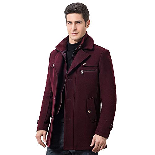 Azruma Herren Winter Slim Fit Wollmantel Business Überzieher Schlank Lange Windbreaker Jacken Wollmantel Bussiness Stehkragen Kurz Winterjacke