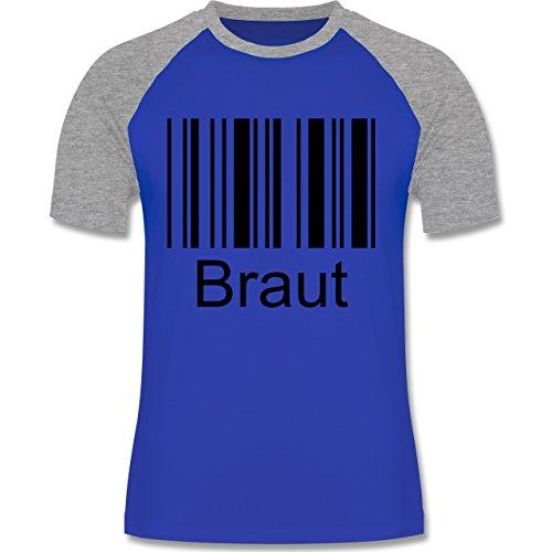 Hochzeit - Braut - Barcode - zweifarbiges Baseballshirt für Männer Royalblau/Grau meliert