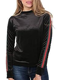 Pilot Women's Velvet Side Stripe Sleeve Loungewear Top In Black