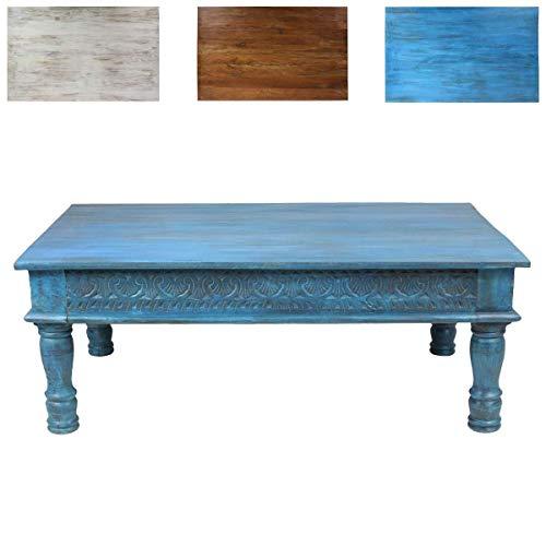 Oriental Galerie Couchtisch Wohnzimmertisch Holztisch Beistelltisch aus Indien Shabby Chic Türkis Hellblau 120 cm G3