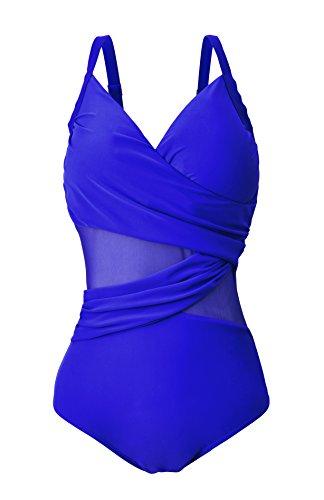 Azue Monokini Damen Bauchweg Schlankheits Badeanzug Große Größe für Mollige Frauen Badebekleidung Schwimmanzug Hellblau EU 40-42 (Etikett M)