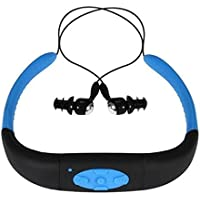 Hipipooo-4GB Memory Waterproof Sports MP3 Music Player Stereo Audio Earphone Underwater Neckband Swimming Diving With FM Radio Headset(Blue)