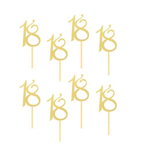Amosfun 24 Stück Nummer 18 Glitter Gold Cupcake Topper 18. Geburtstag Kuchen Dekorationen