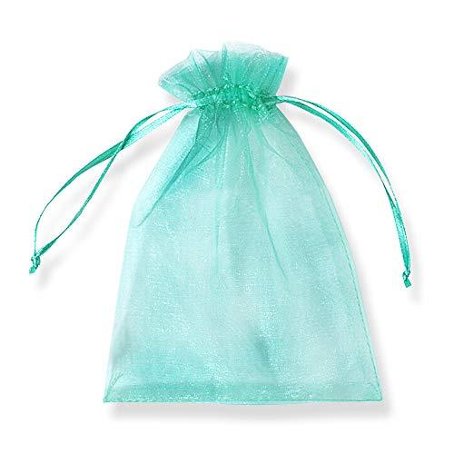 PLECUPE 100 Pezzi Trasparente Organza Bag Sacchetti Bustine, 20x30cm (7.9x11.8 Pollici) Sacchettino Sacchetto Coulisse Porta Sacchettini di Matrimonio - Verde#3